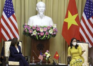 POOL PHOTO VIA AP                                 U.S. Vice President Kamala Harris, left, speaks with Vietnam's Vice President Vo Thi Anh Xuan at the Presidential Palace in Hanoi on Wednesday.