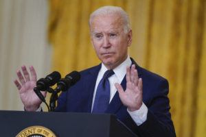 ASSOCIATED PRESS / AUG. 26                                 President Joe Biden speaks about the bombings at the Kabul airport that killed at least 12 U.S. service members, from the East Room of the White House in Washington.