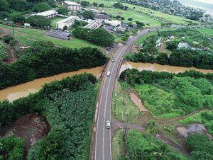 COURTESY DEPARTMENT OF TRANSPORTATION SERVICES                                 Aerial view of the Waialua Beach Road Bridge over Ki'iki'i Stream.