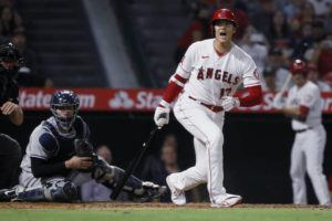 ASSOCIATED PRESS                                 Los Angeles Angels designated hitter Shohei Ohtani, right, yelled after hitting a foul ball into the New York Yankees' dugout, as Yankees catcher Gary Sanchez watched during the fourth inning of a game in Anaheim, Calif., Tuesday.