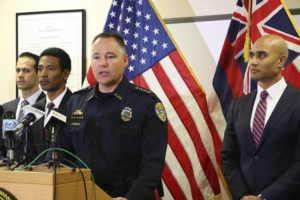 THE GARDEN ISLAND VIA AP                                 Kauai Police Chief Todd Raybuck speaks at a news conference in Lihue in 2020.