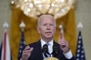 ASSOCIATED PRESS                                 President Joe Biden, joined virtually by Australian Prime Minister Scott Morrison and British Prime Minister Boris Johnson, speaks about a national security initiative from the East Room of the White House in Washington.