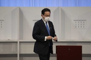 POOL PHOTO VIA AP                                 Former Japanese Foreign Minister Fumio Kishida casts his vote in the Liberal Democrat Party leadership election in Tokyo Wednesday.
