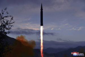 KOREAN CENTRAL NEWS AGENCY/KOREA NEWS SERVICE VIA AP                                 This photo provided by the North Korean government shows what North Korea claims to be a new hypersonic missile launched from Toyang-ri, Ryongrim County, Jagang Province, North Korea, on Tuesday.