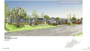 COURTESY PULAMA LANAI AFFORDABLE HOUSING COMMITTEE                                 A rendering shows a street view of the Hokuao subdivision. The proposed homes include four-panel sliding doors, Tesla solar roof shingles with Tesla Powerwall batteries and cross-laminated timber.