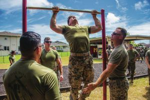 U.S. MARINE CORPS PHOTO / MAY 27                                 Above, a Marine with Headquarters Company, 3rd Marine Regiment, executes pullups during the unit's Warrior Day at Marine Corps Base Hawaii. 3rd Marines held the competition between Combat Assault Company and Headquarters Company to increase readiness and build unit camaraderie.