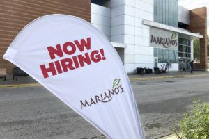 ASSOCIATED PRESS                                 A sign in the parking lot of Mariano's grocery store advertises the availability of jobs, Friday, in Chicago. One reason America's employers are having trouble filling jobs was starkly illustrated in a report today: Americans are quitting in droves.
