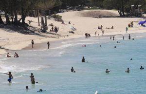 JAMM AQUINO / 2020                                 Beachgoers enjoy the ocean at Kailua Beach Park on June 29, 2020 in Kailua.