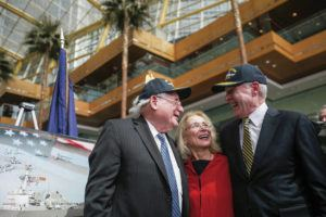 TRIBUNE NEWS SERVICE / 2016                                 Former Sen. Carl Levin, left, and wife, Barbara Levin, stood with then-Navy Secretary Ray Mabus in 2016 when it was announced the next Arleigh Burke-class destroyer would be named after the Michigan politician.