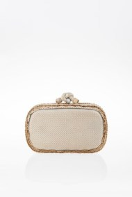 Perforated Snakeskin Τop Κnot Clutch