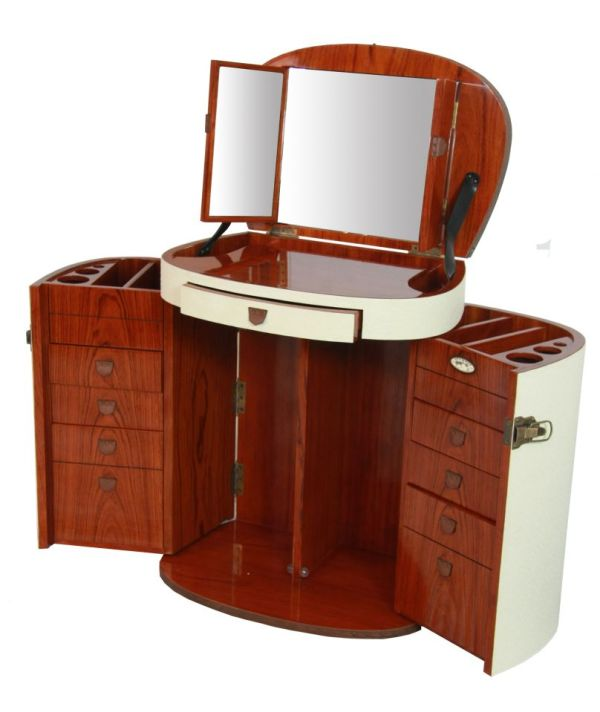 Marie Galante Makeup Trunk Dressing Table With Mirror. Ivory