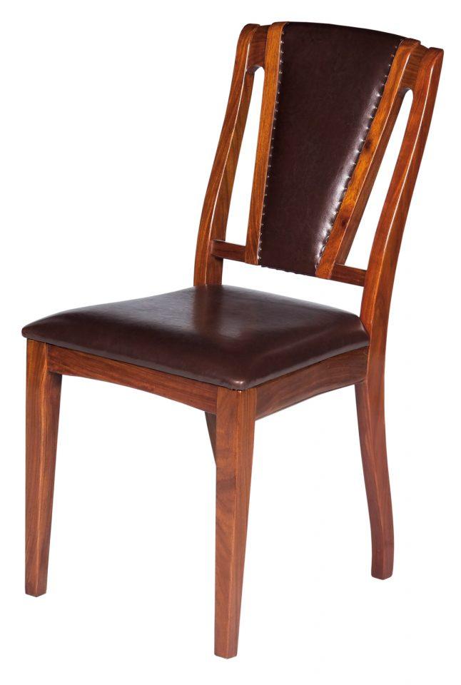 chaise bois et cuir brighton