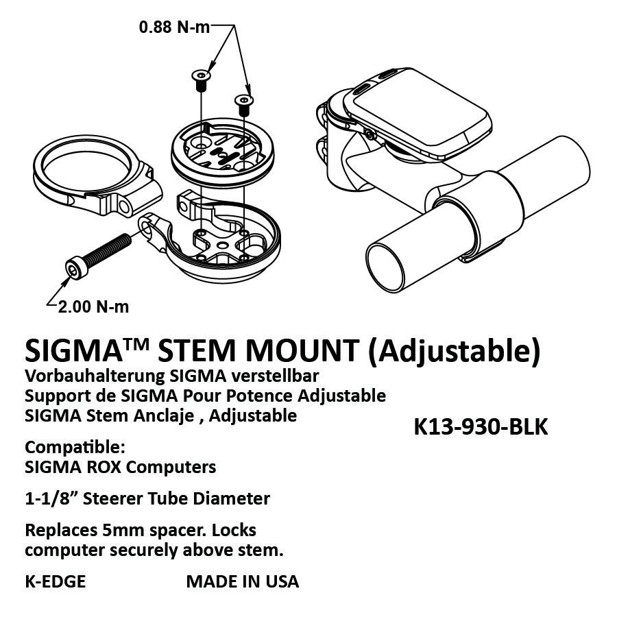 K-Edge Sigma Sport stem holder adjustable black