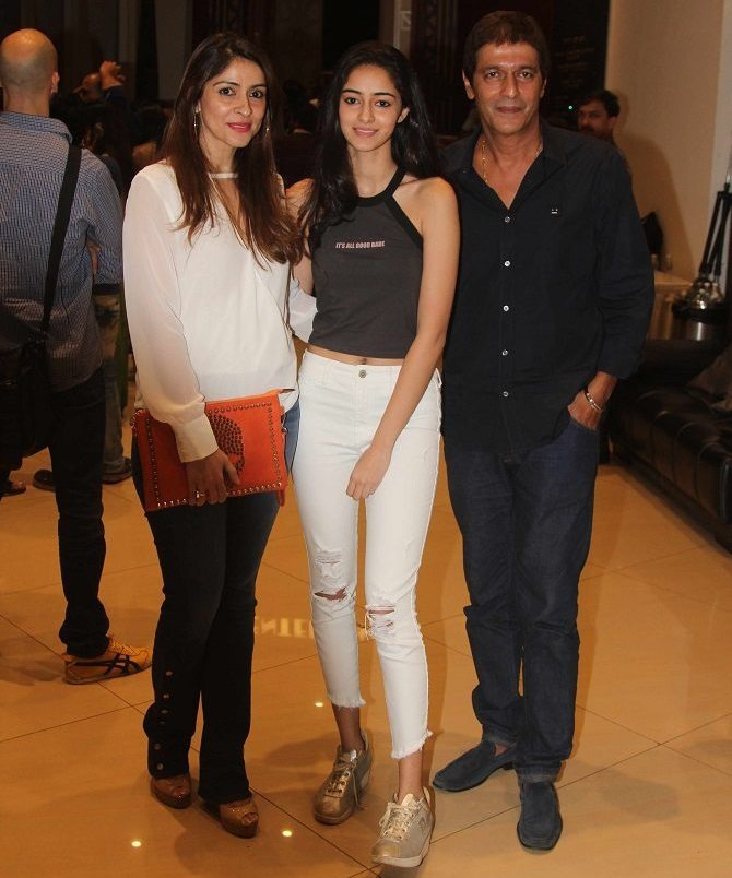 Ananya Pandey with Parents