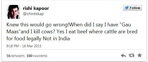 Rishi Kapoor's beef remark on Twitter