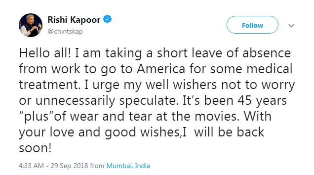 Rishi Kapoor's tweet on his health