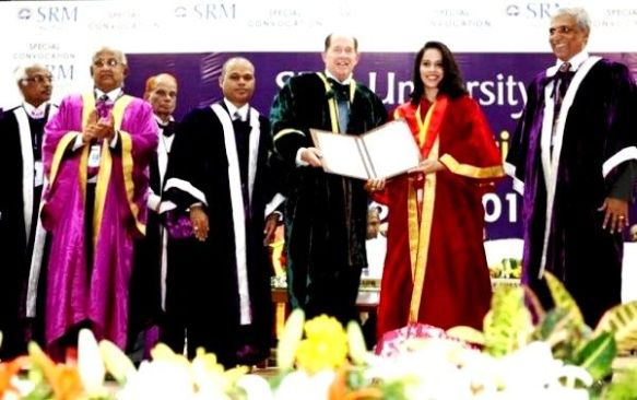 Saina Nehwal received an honorary doctorate degree in literature by SRM University