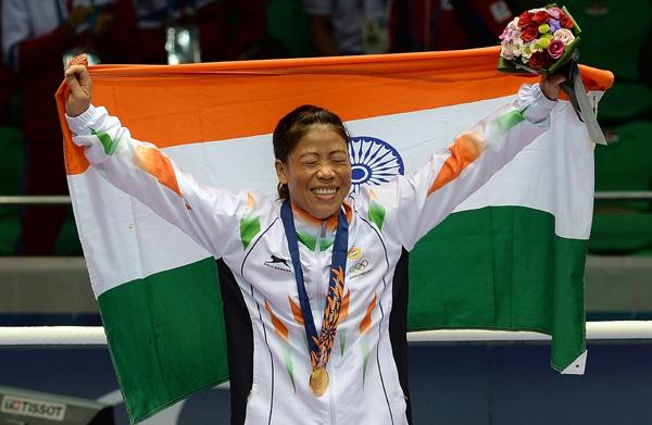 Mary Kom after her Gold Medal victory in 2014 Asian Games