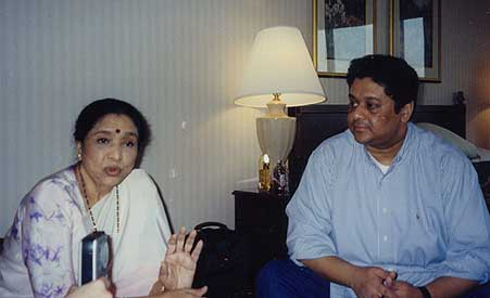 Asha Bhosle with son Anand Bhosle