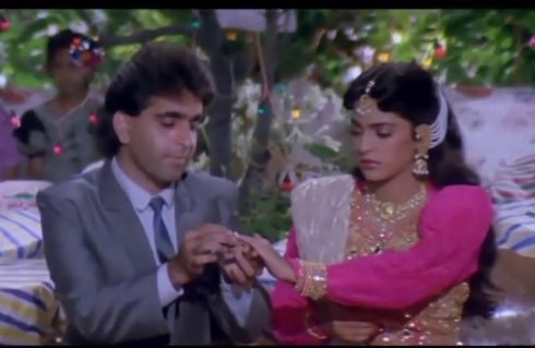 Juhi Chawla in the movie Swarg