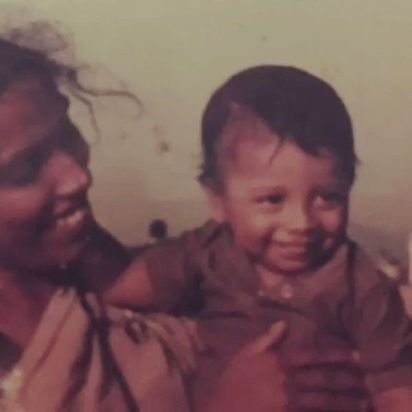 Nakash Aziz with his mother