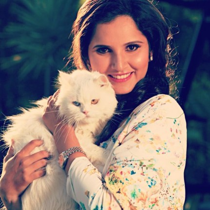 Sania Mirza with her pet cat