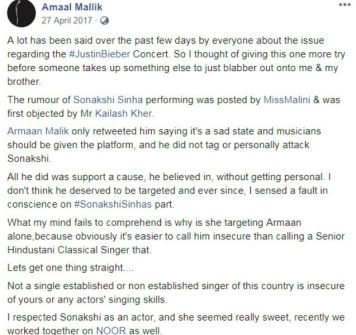 Amaal Malik's Post On Justin Bieber's Concert Controversy