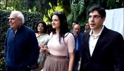 Kapil Sibal With His Son Akhil Sibal And Daughter-In-Law Shivani