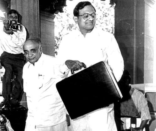 P Chidambaram Before Presenting The 1997 Budget