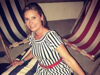 Kristina Klebe in a black and white lovely dress.