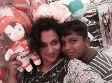 Manju Pathrose with her son
