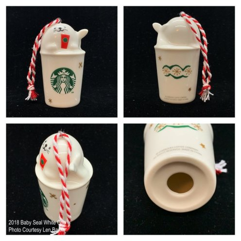 2018 Baby Seal White Cup Starbucks Ornament