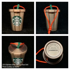 2018 Stainless Steel Cold Cup Rose Gold Starbucks Ornament