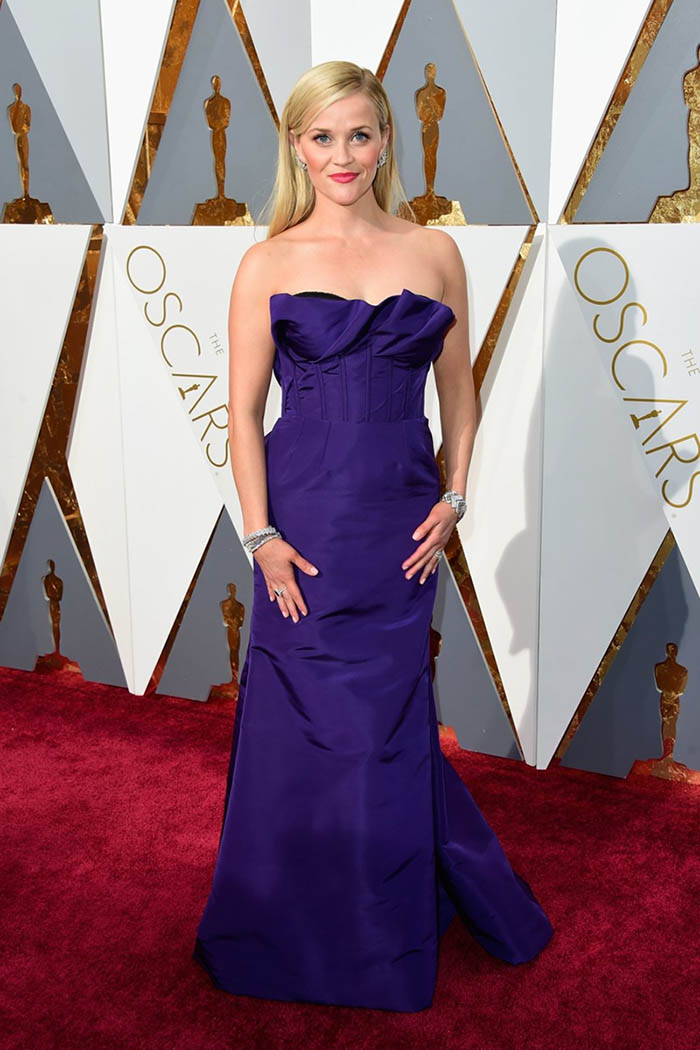 Reese Witherspoon Purple Trumpet Celebrity Prom Dress