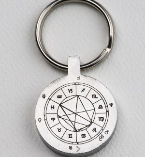 StarCharm personalized key fob engraved with an astrological natal chart