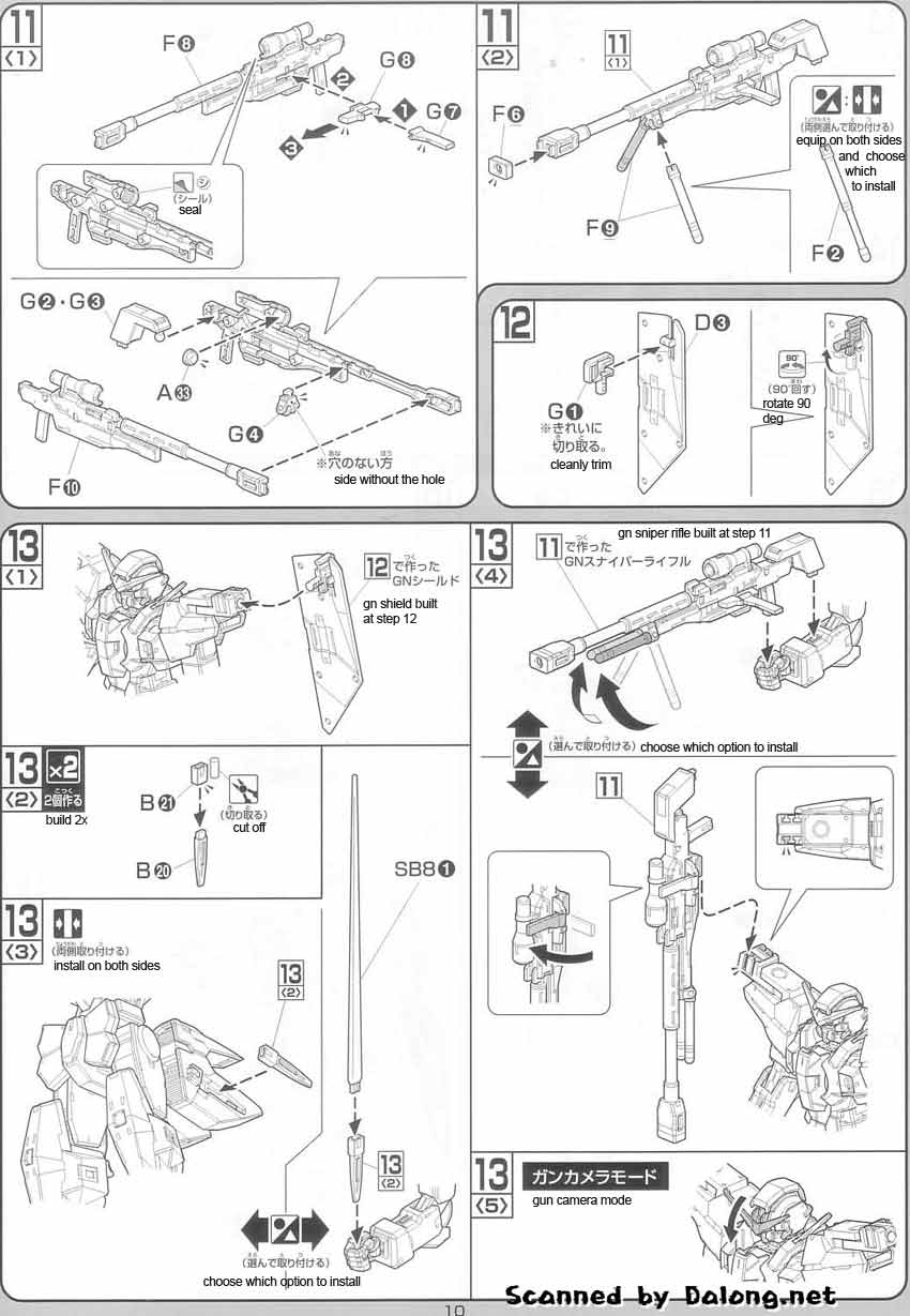 1/100 Gundam Dynames English Manual and Color Guide