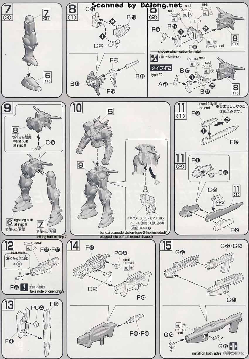 HG Gundam Astraea type-F English Manual and Color Guide