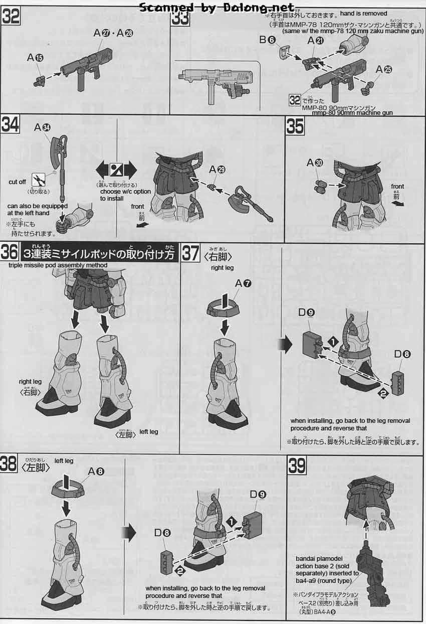 HG MS-06F-2 Zaku II F2 (Zeon ver) English Manual & Color
