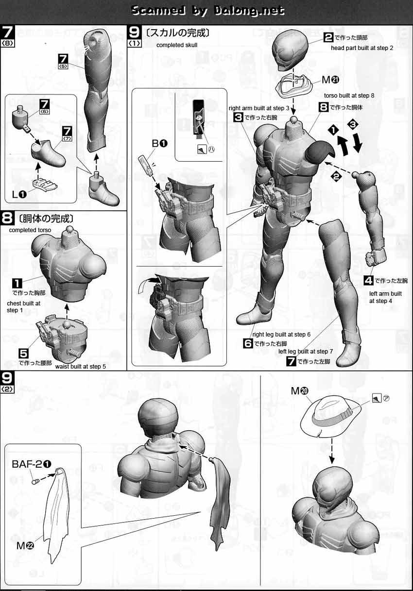 MG Figurerise Kamen Rider Skull English Manual & Color