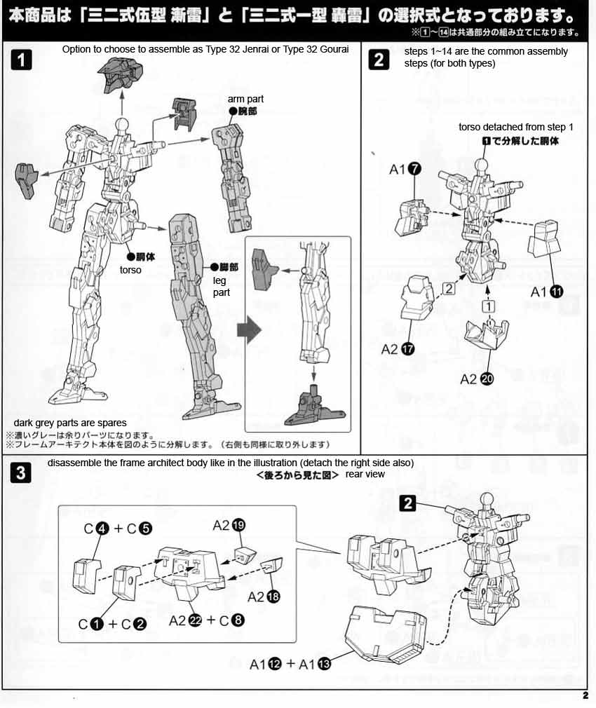 Frame Arms Type 32 V Zenrai English Manual & Color Guide