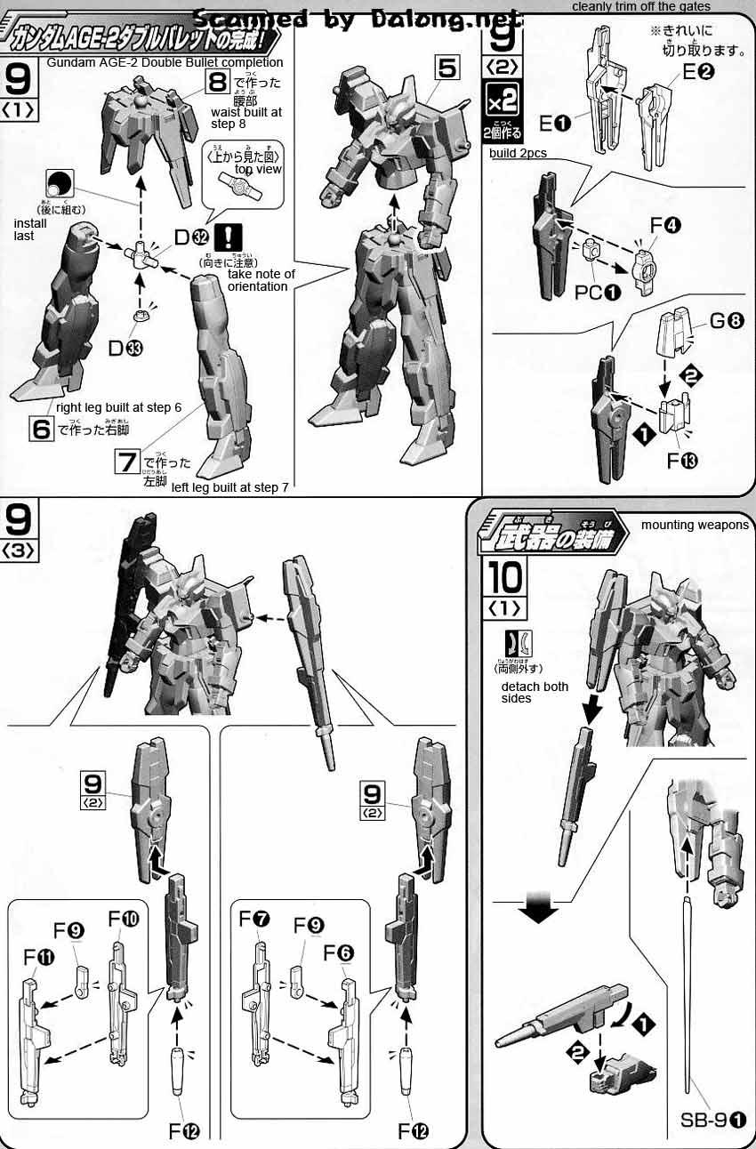 HG Gundam AGE-2 Double Bullet English Manual & Color Guide