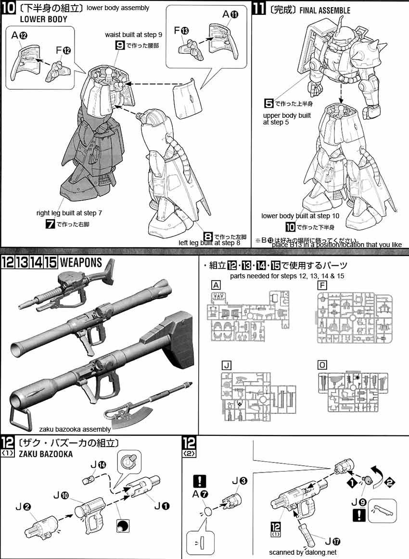 MG Zaku II of Johnny Ridden v2.0 English Color Guide