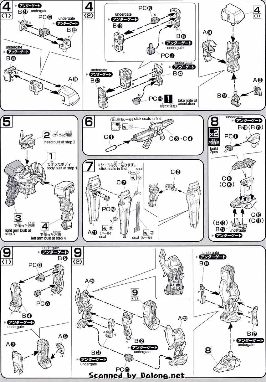 HG Gundam Astray Green Frame English Manual & Color Guide