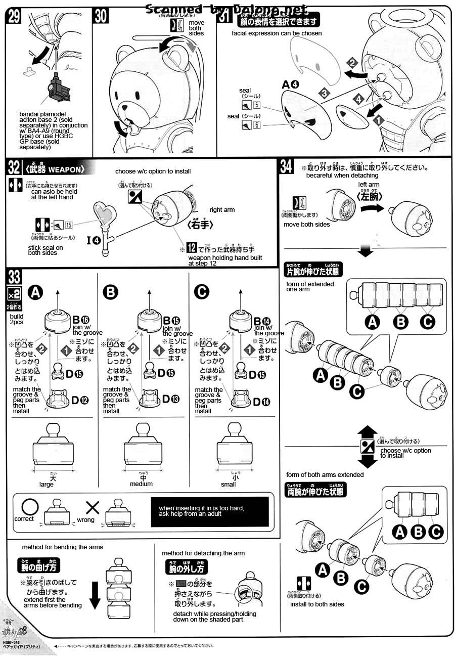 HG Beargguy P [Pretty] English Manual & Color Guide