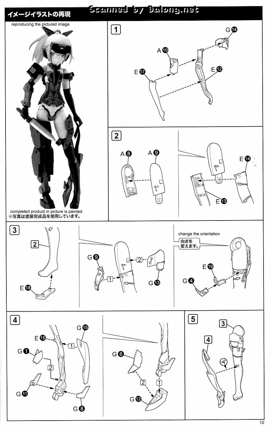 Frame Arms Girl Jinrai Indigo Ver. English Manual, Color
