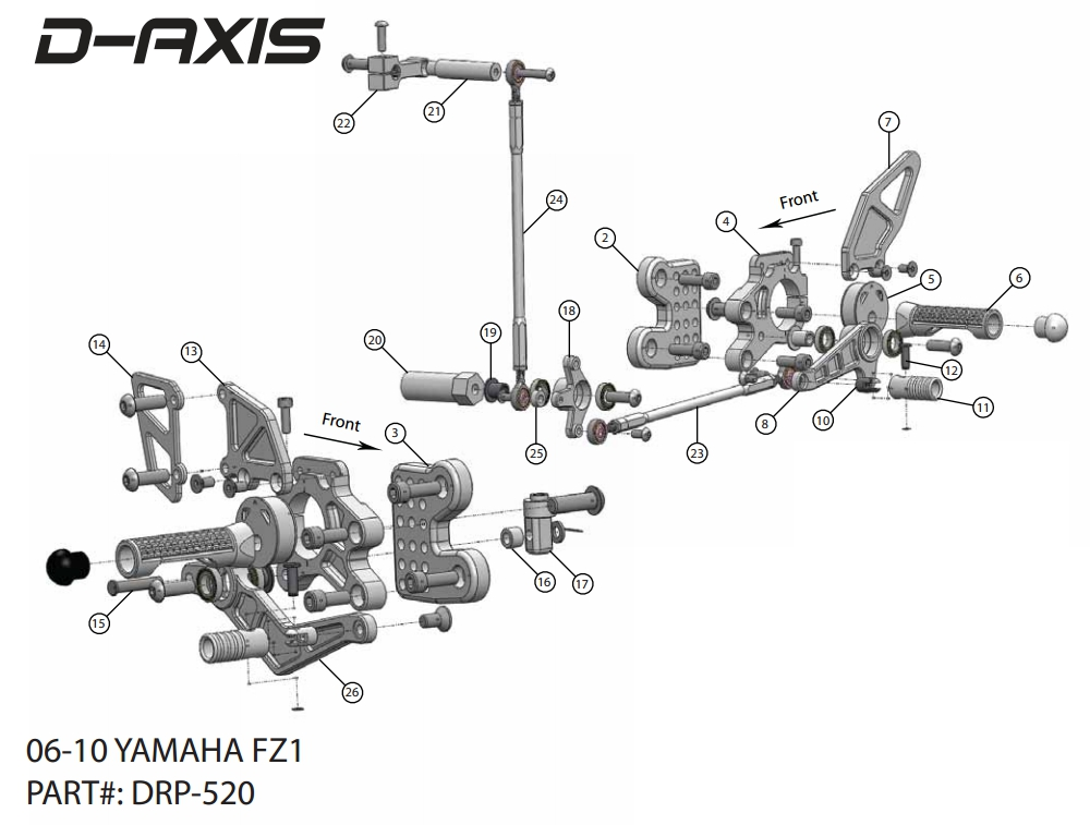 06-12 Yamaha FZ1 Driven D-Axis Rearsets w/ Black Eccentric