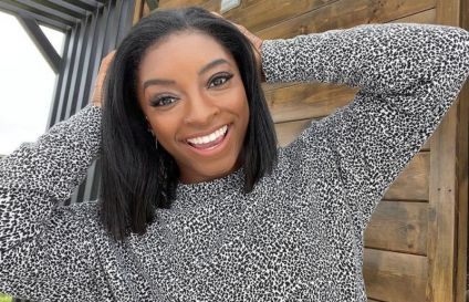 Simone Biles at her home