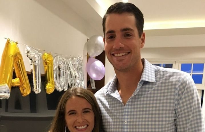 John Isner with his wife