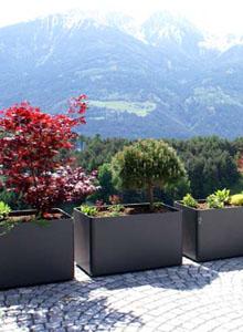 Modern Outdoor Planters Rectangular Tall Planter Pot 24 H Stardust