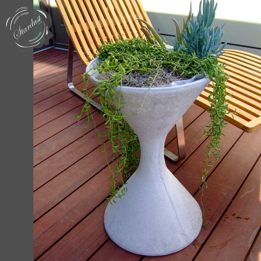willy guhl mid century modern concrete outdoor spindel planter